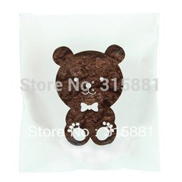 Wholesale Cellophane Bags For Cookies - White Bear Window Cellophane Bags - Cute plastic poly bags for cookie gift packaging ideas 10x14cm