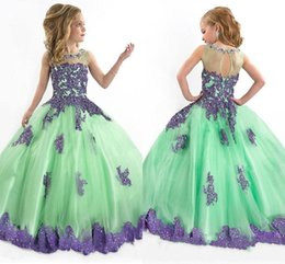 Wholesale Red Pagent Dresses - 2015 Vintage Ball Gown Flower Girl Dresses Green With Purple Lace Cute Pagent Dresses For Girls Crew Sheer Back Floor Length Gowns 2016 new