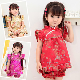 Wholesale Pink Chinese Dress Qipao - Floral Children's Sets baby girls clothes outfits suits New Year Chinese tops dresses short pants Qipao cheongsam free shipping