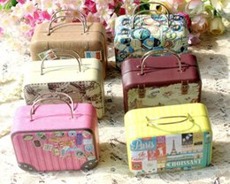 Wholesale Tin Box Printed - 30pcs Retro Suitcase Candy Box Cute Wedding Party Gift Jewelry Tin plate Boxes Mix 6 Style New