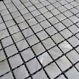 Argentina [ENVÍO GRATIS] mosaico de concha de nácar de color blanco, 20x20 mm para piso / pared utilizada, azulejo de concha de agua dulce # MS090 Suministro