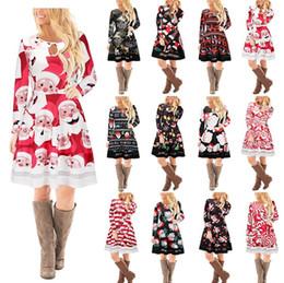 Wholesale Women Flower Tutu - 15 style Christmas Long Sleeves Woman Girls Dress Deer Snowman Flower Printed Skirt Elegant for Party Dresses