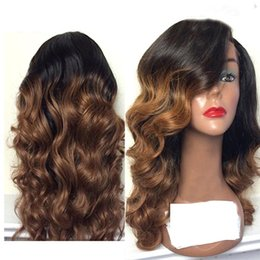 Wholesale chinese wig hair - Two Tone Lace Front Wig Peruvian Remy Hair 150 Density Ombre Color Side Part Natural Wave Human Hair Wig for Black Women