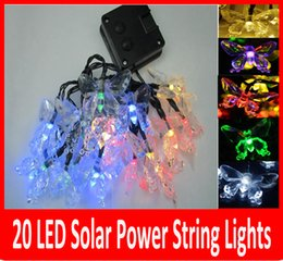 Wholesale Led Christmas Lights Butterfly String - 20 LED Solar Outdoor String Fairy Lights butterfly Solar Powered Outdoor String Lights Garden Camping Patio Party Christmas Multi-color