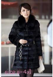 Wholesale Mink Fur Garment - 2015 Winter Warm Women's Fashion Rabbit Faux Fur Coat with Fox Fur Collar mink Long Outwear Lady Garment Plus Size S-4XL L671
