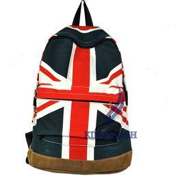 Wholesale Canvas Shoulder Bag Men Uk - Wholesale-2015 New Style Fashion Unisex Canvas Punk Shoulder Bag School Campus Bag Backpack UK US Flag Free Shipping 5691