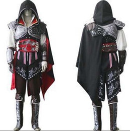 Wholesale Cosplay Costumes For Men - Assassin's Creed II 2 Ezio Black Flag Cosplay Auditore da Firenze Black Edition Cosplay Costume Custom Made Any Size For Halloween Party