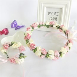 Wholesale Chinese Hair Flowers - 2015 Girl Hair Accessories Elegant Flower Garlands Rural Headdress Wrist Flowers With Green Leaves Lace Bowknot Cheap Bridal Flowers