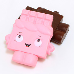 Wholesale Mobile Phone Chocolate - 13cm Jumbo Chocolate Boy Girl Squishy Soft Slow Rising Scented Gift Fun Toy Mobile Phone Strapes