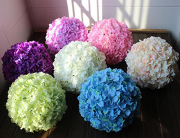Wholesale Ball Display - 12 inch artificial hydrangea flower ball pincushion wedding ball kissing ball wedding supermarket deoration hangings FB008