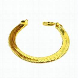 Wholesale Mens Gp Chains - New Arrival Fashion 24K GP Gold Plated Mens Jewelry Bracelet Yellow Gold Golden Bracelet Bangle Free Shipping YHDH040