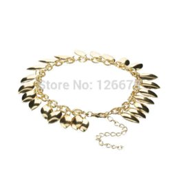 Wholesale Trendy Products - New Fashion Celeb Leaf Drop Charm Anklets Chain Link Bracelet Foot Leg Beach Sandal Jewelry Products for Women