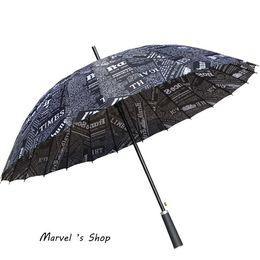 Wholesale Parasol Long Black Handle - Wholesale-2015 24Bone Long-Handle Parasol Paper Umbrella Sun Protection Beach Umbrella Men Printing Newspaper Umbrella Rain Free Shipping