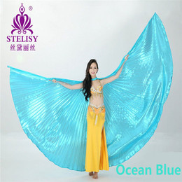 Wholesale Brown Sticks - Best Price Egyptian Egypt Belly Dance Costume Isis Wings Dance Wear Accessories (no stick) 11 colors for chosen