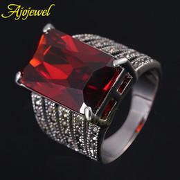 b5cd454b0ffb 010 2014 oro blanco 18K Negro CZ Rectángulo Rojo Rubí AAA circonio cúbico  anillos de compromiso grande para las mujeres   hombres oro rubí rojo  chapado ...