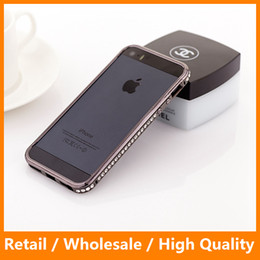 Wholesale Wholesale Black Diamond Screen - New Arrival Fashional 3D Luxury Rhinestone Bling Diamond Bumper Case Crystal Cover Free Screen Film For iPhone5 5S 5G