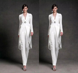 Wholesale Elegant Wedding Dresses Jackets - Elegant Mother of the Bride Pant Suits With Jacket For Wedding V Neck Mother's Formal Suit Long Sleeve Beads Formal Prom Evening Dress