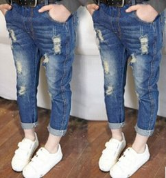 Wholesale New Jeans For Kids - Kids Boy Girl Jeans Fashion Private Ripped Jeans 2015 NEW ARRIVAL GOOD QUALITY suit for 3-7T Freeship