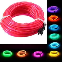 Wholesale led soft neon - 10M EL Led Flexible Soft Tube Wire Neon Glow Car Rope Strip Light Xmas Christmas Decor DC 12V