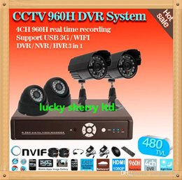 Wholesale Dvr Mobile Surveillance 4ch - CIA-Free!2pcs Outdoor And 2pcs Indoor Day Night CCTV Home 4ch 960H DVR Video Surveillance Security Camera set,mobile monitoring