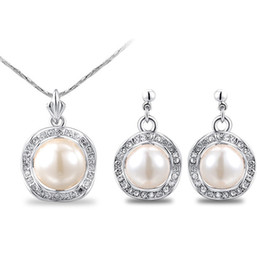 Wholesale Jewelery Pearls - earring and necklace set, american and european style pearl jewelry set,elegant summer jewelery set,concise jewelery set LG201-98