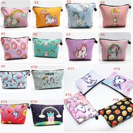 Wholesale Korean Cosmetics Wholesale Free Shipping - Unicorn Makeup Bag 16 Style Cosmetic Bags Fasion Zipper Unicorn Bag for Cosmetic Makeup Items DHL Free Shipping