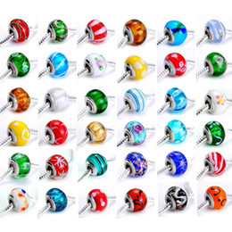 Wholesale Pandora Mixed Glass Beads - Charm Loose Beads DIY 9*14mm Pandora Bead Unique Lampwork Murano Glass Bead DIY Bracelet Mix Color 100pcs lot
