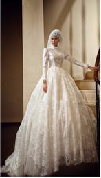 Wholesale 2015 robes de mariée musulmane arabe robe balle robe dentelle perles col haut manches longues en ivoire blanc balayage train robes de mariée