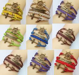 Wholesale Anchor Bracelet Velvet - Friendship charm bracelet,Woven leather bracelet,cheap jewellery,Korean (anchor+dream) bracelets,fashion jewelry,Velvet rope bracelets.HZ
