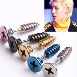 Wholesale Stainless Steel Men Earrings Blue - 5 Colors Fashion Unisex Fine Stainless Steel Whole Screw Stud Earring For Men Women Novelty Jewelry Studs KS