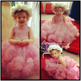 Wholesale Kids Gowns Elegant - Cute 2016 Pink Tulle Ball Gown Flower Girl Dresses For Weddings Elegant Little Kids Pageant Dresses