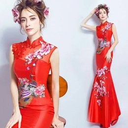 Modelos qipao online-2018 New The Hostess Dress Woman Long Style Modelo elegante y delgado El rendimiento de la Qipao Stage Red
