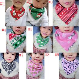 Wholesale Infant Bandana Bibs - Baby Stripes Christmas Bibs Infant Triangle Scarf Toddlers Cotton Bandana Burp Cloths 18 colors C3144