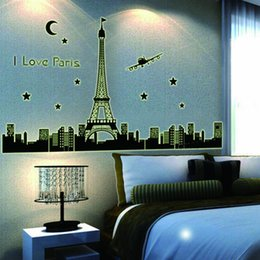 Wholesale Large Paris Art - Free shipping creative I Love Paris Night Eiffel Tower romantic decoration luminous stickers wall home living room decals glow in the dark