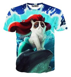 Wholesale Funny Cartoon Shirts - Grumpy Cat Ariel The Little Mermaid t-shirt print sweat women&male funny cartoon animal 3D t shirt top tshirt dropshipping 5617