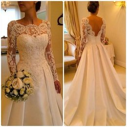Wholesale Fabric Bridal Gowns - Long Sleeve Wedding Dresses 2015 bridal luxury Crew Sheer Backless A line Satin Fabric Bridal Gowns Vintage Church Wedding Gown Custom Made