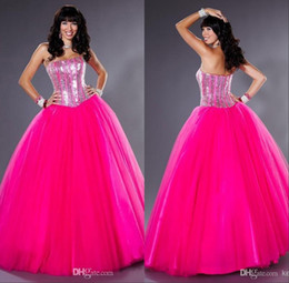 Wholesale Dress Quinceanera Fushia - 2015 New Bling Quinceanera Dresses with Beading Sequins Strapless Fushia Long Tulle Ball Gown Ruffled Junior Sweet 16 Prom Dresses Cheap