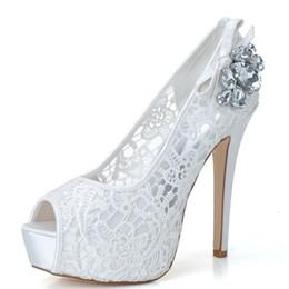 Wholesale White Rhinestone Peep Toe Heels - 2015 Sheer Lace Open Peep Toe Wedding Shoes with Pumps Heel Crystal White Women's Bridal Wedding Party Dress Bridesmaid Shoes 3128-19