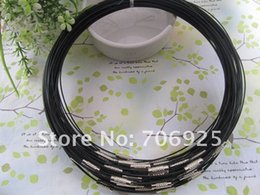 Wholesale Steel Collar Wire - Free shipping Wholesale 1mm 18inch Black stainless steel wire necklace cord collar choker screw clasp 50pcs lot