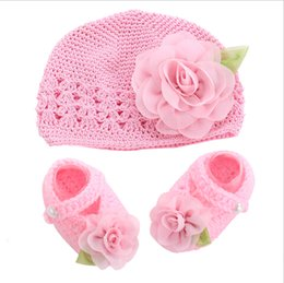 Wholesale Crochet Hat Boots - Flower Girls Baby shoes hat crochet photography props set,handmade boutique toddler girl boots,Crib baby prewalker shoes