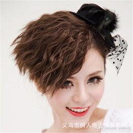 Wholesale Light Brown Wavy Hair Extensions - Multiple Use Wavy Corn Curly Colorful Side Bangs Fringe Ponytail Clip-in Hair Accessories Hairpiece Fringe Hair Extension Hairpiece LH36