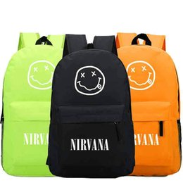 Wholesale Rocking Music - Nirvana backpack Free shipping day pack Rock band school bag Music packsack Quality rucksack Sport schoolbag Outdoor daypack