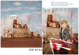 Wholesale Muslin Backdrops For Photography - 5X7ft Vintage Bear Toys Photography Vinyl Backdrop For Photos Muslin Computer Printed Digital Cloth Senior Background