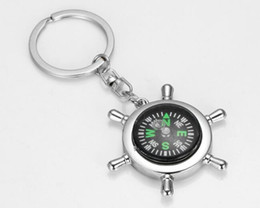 Wholesale Nautical Key Chains - Zinc alloy Nautical helm compass keychain Fashion Key Chains Charms Keychains Metal doll gift with OPP bag Free Shipping