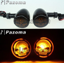 Wholesale Yamaha Bobber - TURN SIGNALS LIGHT CHROME AMBER TURN SIGNAL MARKER LIGHTS SKULL LENS for OLD HARLEY REPLICA BOBBER MOTORCCLE ACCESSORIES - Pazoma