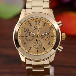 Wholesale Ladies Rose Gold Chronograph Watch - New Rose Gold Watch Luxury Brand Geneva Ladies Wristwatches Gifts Stainless Steel Women Men Casual Quartz Watch