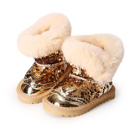 Wholesale Kid Sequin Ties - Princess Girls Snow Rubber Boot Kids Winter Rubber Shoes with Fur Bling Children Ankle Boots Girls Toddler Shoe