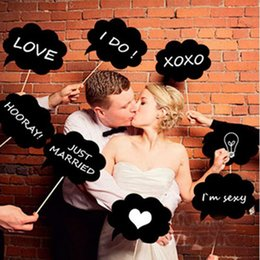 Wholesale Cheap Chalkboards - 10Pcs Set Black Blank Clouds Cardboard Chalkboard Funny Photo Booth Prop Creative Wedding Birthday Party Gifts With Sticks Cheap Supplies