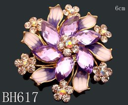 Wholesale Wholesale Rhinestone Costume Jewelry - Wholesale hot sell Women Zinc alloy rhinestone flowers fashion Brooches costume jewelry Free shipping 12pcs lot mixed color BH617