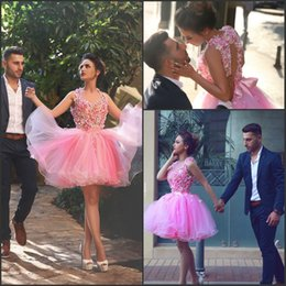 Wholesale Engagement Dresses Custom Made - Knee Length Pink Prom Dresses with Handmade Flowers 2016 New Engagement Gowns Keyhole Back Charming Cocktail Dresses by Said Mhamad